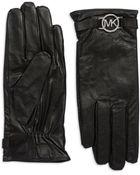 Michael Kors Hardware Logo Leather Gloves - Lyst