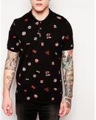 Asos Polo Shirt With Print - Lyst