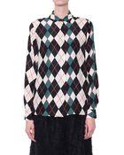 MSGM Silk Shirt With Rhombus Print - Lyst