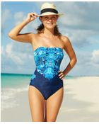 Lauren by Ralph Lauren Scarf-Print Bandeau One-Piece Swimsuit - Lyst
