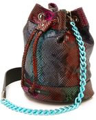 House of Holland Snake Embossed Mini Bucket Bag - Multi Snake - Lyst