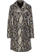 Diane von Furstenberg Sally Snake-print Wool and Silk-blend Coat - Lyst