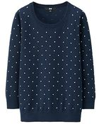 Uniqlo Uv Cut Dot Crew Neck 3/4 Sleeve Sweater - Lyst