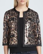 Michael Simon Animal-Sequined Cropped Jacket - Lyst