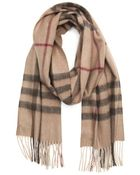 Burberry Smoked Trench Check Cashmere 'Giant Icon' Fringe Detail Scarf - Lyst
