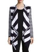 Misook Striped Drape-Front Cardigan - Lyst