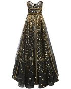 Naeem Khan Strapless Hand Painted Lace Gown - Lyst
