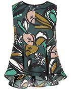 Topshop Floral Print Peplum Shell Top - Lyst
