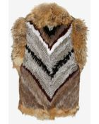 Elizabeth And James Robby Patched Rabbit/Coyote Fur Vest - Lyst
