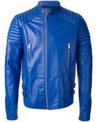 Les Hommes Ribbed Biker Jacket - Lyst