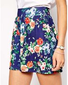 Asos Tall Winter Floral Printed Culotte Shorts - Lyst