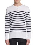 Tailor Vintage Striped Henley Top - Lyst