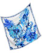 Roberto Cavalli Floral Print Silk Square Scarf - Lyst