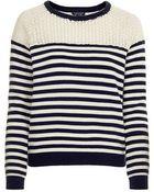 Topshop Lace Breton Stripe Jumper - Lyst