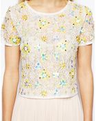 Asos T-Shirt In Lace With Floral Embellishment - Lyst