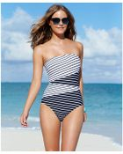 Anne Cole Contrast-Striped Bandeau One-Piece Swimsuit - Lyst