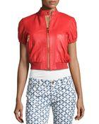 MICHAEL Michael Kors Short-Sleeve Leather Coat - Lyst