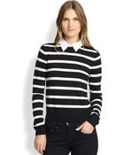 Alice + Olivia Poplin-Collar Stripe Wool Sweater - Lyst