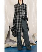 Proenza Schouler Plaid Crepe Suiting Long Sleeve Flare Dress - Lyst