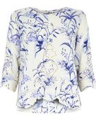 River Island Cream Floral Print Embroidered Front Top - Lyst