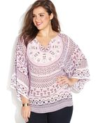 Inc International Concepts Plus Size Printed Dolman-sleeve Top - Lyst