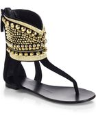Giuseppe Zanotti Embellished Ankle-Cuff Thong Sandals - Lyst