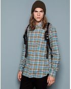 Pull&Bear Check Print Shirt With Back Pleat - Lyst