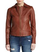 Doma Leather Spread Collar Jacket - Lyst
