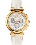 Ferragamo Ladies Gold-Tone Chronograph Watch With White Leather Strap - Lyst