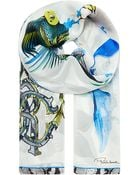Roberto Cavalli Alize Patterned Silk Scarf - Lyst