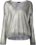 Avant Toi Metallic V-Neck Sweater - Lyst