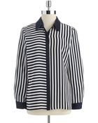 Vince Camuto Striped Button-Down Blouse - Lyst