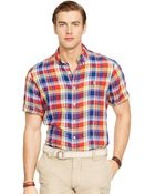 Polo Ralph Lauren Short-Sleeved Plaid Linen Shirt - Lyst
