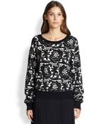 DKNY Silk & Cashmere Printed Sweater - Lyst