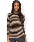 Lauren by Ralph Lauren Striped Turtleneck Sweater - Lyst