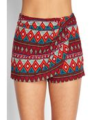 Forever 21 Tribal Print Wrap-Front Shorts - Lyst