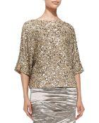 Nicole Miller 3/4-Sleeve Seashell Sequin Top - Lyst