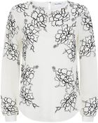 Oscar de la Renta Floral Lace Embroidered Blouse - Lyst