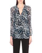 Diane von Furstenberg Silk Leopard-Print Top - Lyst