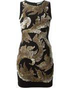 Amen Sequins Embroidered Fitted Dress - Lyst