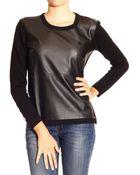 Giorgio Armani - Armani Jeans Sweater Round Neck Ecoleather With Zip - Lyst