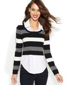 Inc International Concepts Layered-look Striped Sweater - Lyst