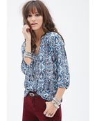 Forever 21 Abstract Print Button-front Blouse - Lyst