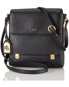 Lauren by Ralph Lauren Tumbled Leather Crossbody Bag - Lyst