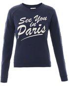 Zoe Karssen See You In Paris-Print Jersey Sweatshirt - Lyst