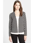 Ellen Tracy Collarless Diamond Jacquard Jacket - Lyst