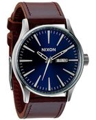 Nixon Sentry Leather Blue And Brown Watch - Lyst