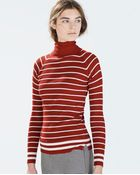 Zara Striped Turtleneck Sweater - Lyst