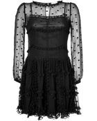 RED Valentino Silk Dot Embroidered Long Sleeve Dress - Lyst