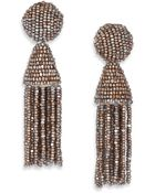 Oscar de la Renta Short Beaded Tassel Clip-On Earrings - Lyst